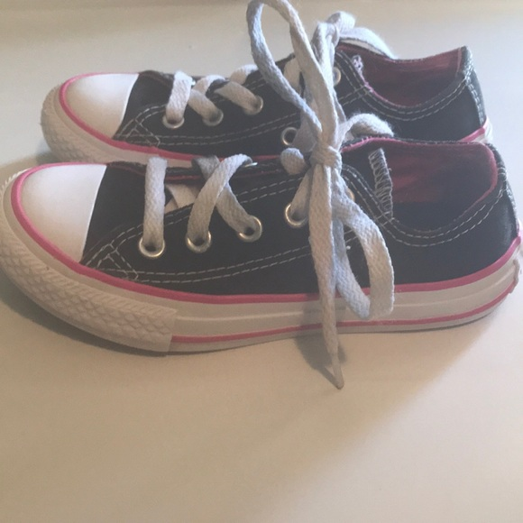 Converse Other - Girl s Black and Hot Pink Converse - Size 11 15c64c643